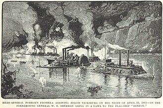 USS Benton (1861) - General William Tecumseh Sherman rows out to the Benton after it arrives below Vicksburg
