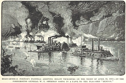 Porter's flotilla arrives; General Sherman is going in a yawl to the flagship, USS Benton (1861). Porter's flotilla below Vicksburg.jpg