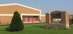 LaGrange County, Indiana - Prairie Heights High School, just off U.S. Route 20 near the Steuben County line.