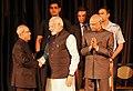 Pranab Mukherjee, the President-elect, Shri Ram Nath Kovind and the Prime Minister, Shri Narendra Modi at the release of the Volume 4 of President Pranab Mukherjee's selected speeches, at Rashtrapati Bhavan, in New Delhi (3).jpg