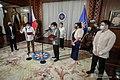 President Rodrigo Roa Duterte administers the oath of office of Benjamin Abalos Jr. as the new chairman of the Metropolitan Manila Development Authority at the Malacañang Palace on January 11, 2021. (02).jpg
