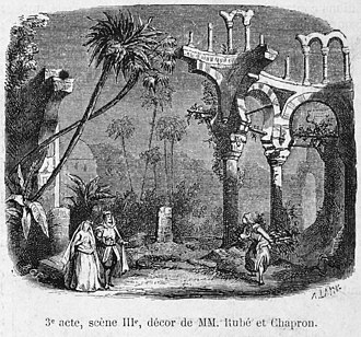 Jules Adenis - Image: Press illustration of Act 3 (scene 3) of 'La fiancée d'Abydos' by Barthe at the Théâtre Lyrique 1865 Gallica