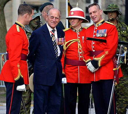 Prince Philip with the Royal Canadian Regiment as their colonel-in-chief, April 2013. Prince Philip as Colonel-in-Chief of the Royal Canadian Regiment.jpg