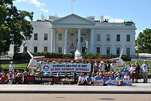 Native American policy of the Barack Obama administration - Protests against Keystone XL Pipeline for tar sands at White House, 2011.