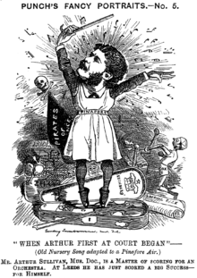 "Mocking newspaper cartoon showing Sullivan wearing a ""pinafore"" apron, standing en pointe in a violin case while conducting, surrounded by corrupted paraphernalia relating to his early comic operas, over the sardonic song title ""When Arthur First at Court Began"""
