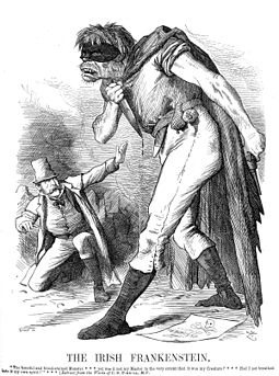Illustration from an 1882 issue of Punch: An English editorial cartoonist conceives the Irish Fenian movement as akin to Frankenstein's monster, in the wake of the Phoenix Park killings. Menacing villains and monsters in horror literature can often be seen as metaphors for the fears incarnate of a society. Punch Anti-Irish propaganda (1882) Irish Frankenstein.jpg