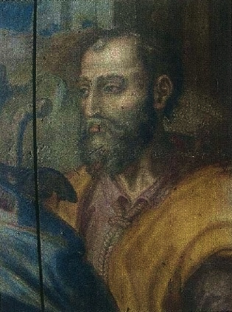 Fernão Mendes Pinto - Possible likeness of Fernão Mendes Pinto in the Visitation altarpiece (Giraldo Fernandes de Prado, 1589-91) of the Church of Misericórdia of Almada, Portugal