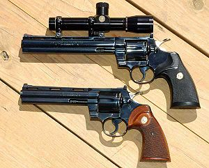 Colt Python - Colt Pythons with 8-inch and 6-inch barrels and royal blue finish