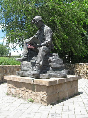 Quecreek Mine rescue - Bronze statue of a miner at the entrance to the rescue site.