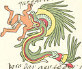 Quetzalcoatl feathered serpent form as depicted in the Codex Telleriano-Remensi.jpg