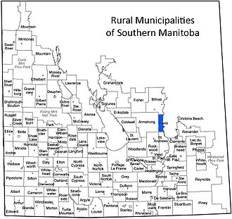 Rural Municipality of Gimli - This is a map of the Rural Municipalities of Manitoba with the RM of Gimli highlighted in blue.