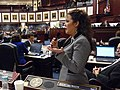 Rachel Burgin offers positive debate as the House brought their version of the state budget to the floor.jpg