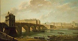 Nicolas-Jean-Baptiste Raguenet - Le Pont Neuf, la Samaritaine et la pointe de la Cité.