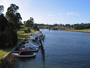 Nicholson, Victoria - Looking north to the East Gippsland Rail Trail trestle bridge across the river
