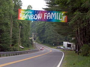 Rainbow Family - Banner hung days before the 2005 Rainbow Gathering by the inhabitants of Richwood, West Virginia, welcoming attendees