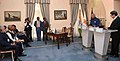 Ram Nath Kovind and the President of Cyprus, Mr. Nicos Anastasiades delivering the press statements after witnessing the signing of Bilateral agreements between India and Cyprus, at the Presidential Palace, in Nicosia.JPG