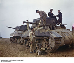 Royal Canadian Armoured Corps - Canadian-manufactured Ram tanks during the Second World War. These AFVs were used primarily for training and did not see action as battle tanks, though a large number were converted into armoured personnel carriers, flamethrower carriers and armoured observation posts.