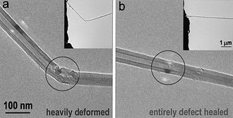 Boron nitride nanotube - BN nanotube was bent inside a transmission electron microscope. Its walls self-healed after release of pressure.