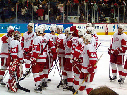 Red Wings during a game in the 2005-06 season. The Red Wings would go on to win that season's Presidents' Trophy. Red Wings vs Blue Jackets.jpg