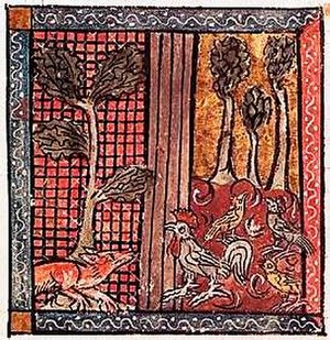 The Nun's Priest's Tale - Chanticleer and the Fox in a mediaeval manuscript miniature