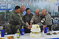 Republic of Korea Army Maj. Gen. Chun In-bum, the South Korean senior member of the United Nations Command Military Armistice Commission, Swiss and Swedish leaders of the Neutral Nations Supervisory Commission 130701-A-WG463-134.jpg