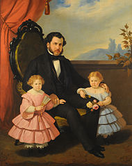 Portrait of man and children