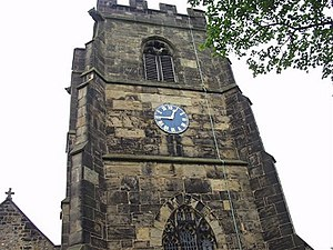 Ruabon - The clock and tower of St. Mary's Parish Church