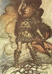 Donner calls upon the storm clouds in this illustration by Arthur Rackham to Wagner's Das Rheingold.