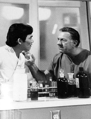 Quincy, M.E. - Jack Klugman (right) as Quincy, with co-star Robert Ito as Sam