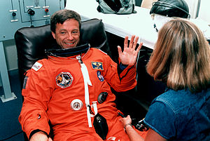 Robert Thirsk - Payload Specialist Robert Thirsk suiting up for the STS-78 mission.