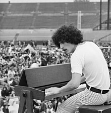 Rock musician at Sicks' Stadium, July 26, 1970, almost certainly Mike Finnigan.jpg