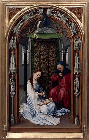 Miraflores Altarpiece - Image: Rogier van der Weyden The Altar of Our Lady (Miraflores Altar) Google Art Project (left panel without frame)
