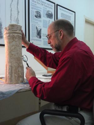 Christopher Rollston - Prof. Rollston collating an inscribed pedestal.