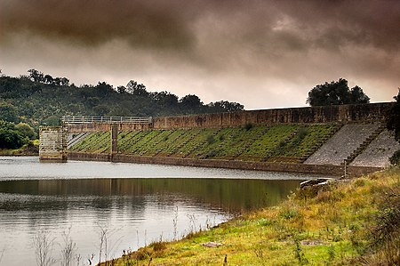 The Roman dam at Cornalvo in Spain has been in use for almost two millennia. Roman Cornalvo dam, Extremadura, Spain. Pic 01.jpg