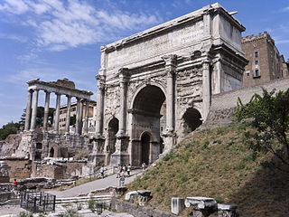 Arch of Septimius Severus triumphal arch in Rome, Italy