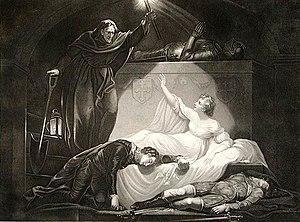 Romeo e Giulietta (Atto V, scena III), Incisione di P. Simon da un dipinto di J. Northcode