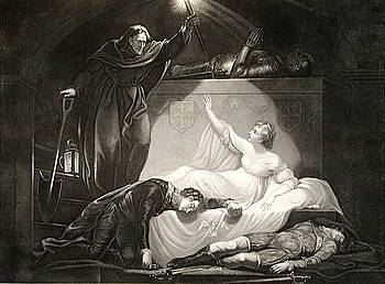 Romeo and Juliet, Juliet wake up in the grave. Original painting by J. Northcode, R.A., engraved by P. Simon .