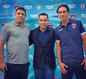 Miami FC - Miami FC President and co-owner, Riccardo Silva (centre) with Ronaldo Luís Nazário de Lima (left) and Miami FC Manager, Alessandro Nesta (right)