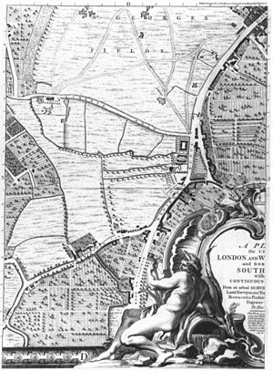 Massacre of St George's Fields - St George's Fields on John Rocque's 1746 map of London