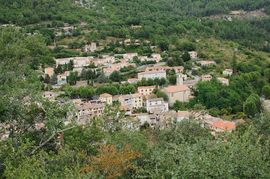 A view of Roquesteron from the nearby hillside