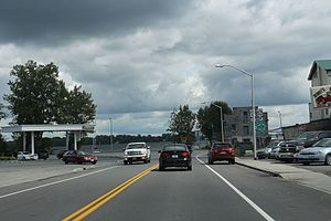 Rouses Point, New York - Looking east at Lake Champlain on US11.