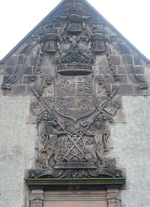 Royal Victoria Hospital, Edinburgh - The Royal Arms above an entrance to the admin block