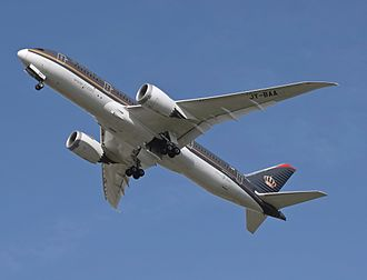 Flight - Human-invented flight: a Royal Jordanian Airlines Boeing 787