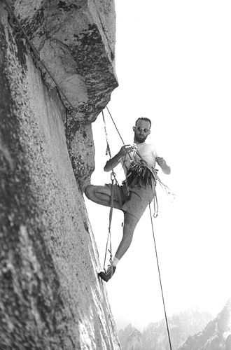 Aid climbing - Royal Robbins aids the third pitch of the Salathé Wall during first ascent in 1961