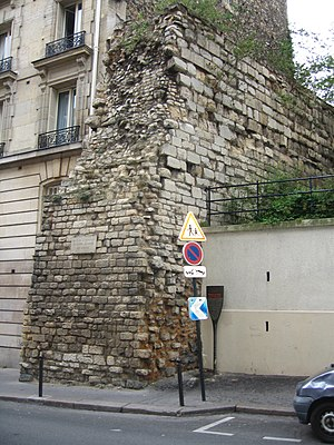 Wall of Philip II Augustus -  Portion of curtain existing in rue Clovis, showing the ashlar facing and rubble core construction.