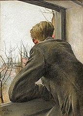 Sønnen Ole kigger ud af vinduet