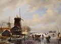 SA 1573-Een houtzaagmolen aan een bevroren vaart, op de voorgrond zijn mannen bezig een ingespannen slede te laden.jpg