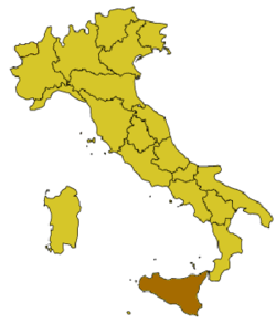 Location of Militello in Val di Catania