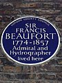 SIR FRANCIS BEAUFORT 1774-1857 Admiral and Hydrographer lived here - Blue plaque.JPG