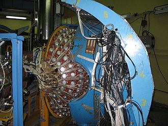 SND Experiment - Spherical Neutral Detector in Budker INP, partially unmounted (2008).